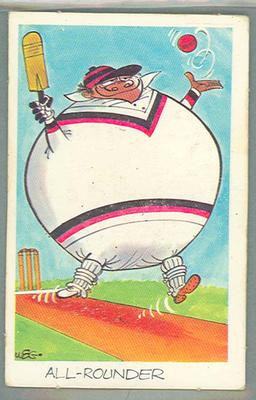 1972 Sunicrust Cricket - Comedy Cricket, All-Rounder trade card