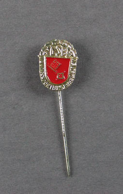 """Stick pin, silver oval shape with """"CSB"""" lettering"""