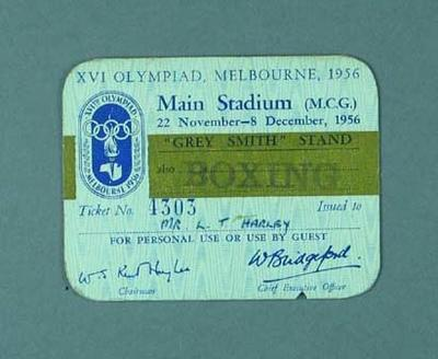 Ticket issued to Les Harley, 1956 Olympic Games main stadium and boxing events