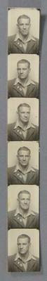 Strip of passport photos, depicting Les Harley c1936