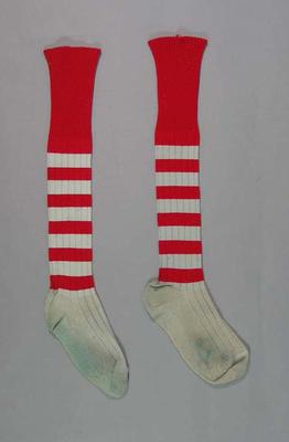 Socks worn by Gary Brice in first semi-final 1970, South Melbourne Football Club