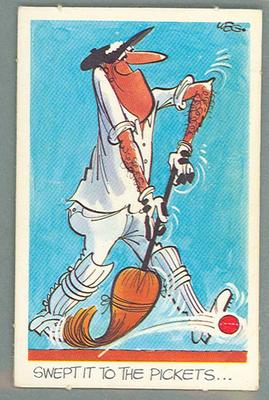 1972 Sunicrust Cricket - Comedy Cricket, Swept It to the Pickets trade card