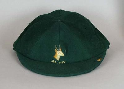 South African cricket cap worn by Jack Siedle, 1935