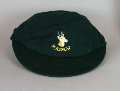 South African cricket cap worn by Jackie McGlew in 1956-57.