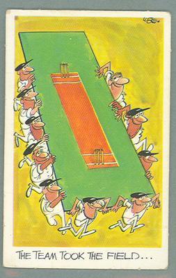 1972 Sunicrust Cricket - Comedy Cricket, The Team Took the Field trade card