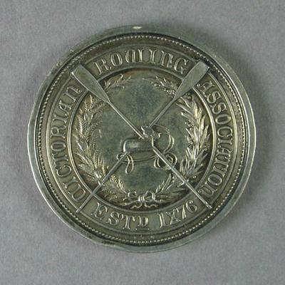 Medal for VRA Champion Eight of Victoria, won by R E Dawson 28 Mar 1896