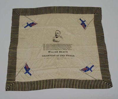 Scarf, commemorating World Champion sculler William Beach c1880s
