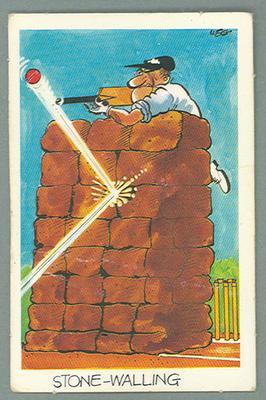 1972 Sunicrust Cricket - Comedy Cricket, Stone Walling trade card