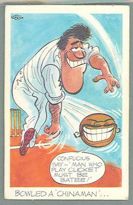 1972 Sunicrust Cricket - Comedy Cricket, Bowled a Chinaman trade card