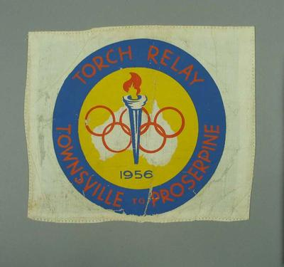 Cloth badge, 1956 Olympic Torch Relay - Townsville to Proserpine