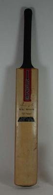Cricket bat, with plaque, used by Ian Chappell in 1975-76.