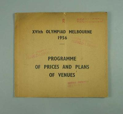 """Booklet, """"1956 Olympic Games programme of prices and plans of venues"""""""