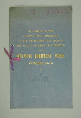 "Brochure, ""Olympic Courtesy Week"" 1956"