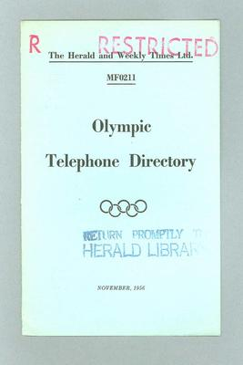 Booklet, 1956 Olympic Games Telephone Directory; Documents and books; 1995.3137.11