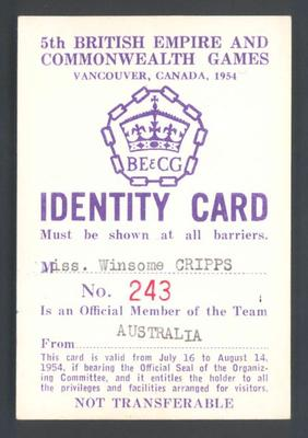 Identity card issued to Winsome Cripps, 1954 British Empire and Commonwealth Games