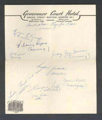 Grosvenor Court Hotel letterhead page, signed by female members of 1952 Australian Olympic team