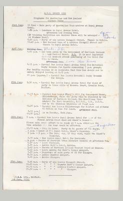 Programme, Royal Ulster Constabulary Sports 1952 - Australian & New Zealand Olympic Teams
