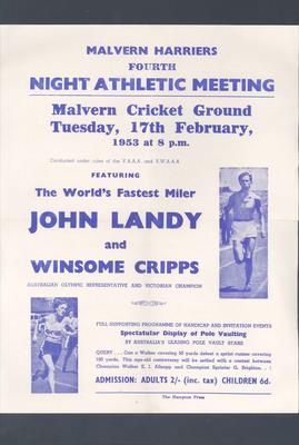 Flyer, Malvern Harriers 4th Night Athletic Meeting - 17 February 1953