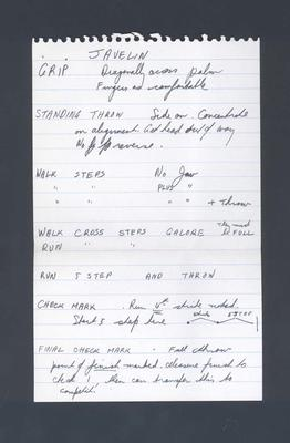 Handwritten notes, detailing throwing and training techniques