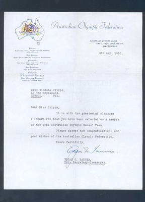 Letter, advising Winsome Cripps of selection in Australian Olympic team - 6 May 1952