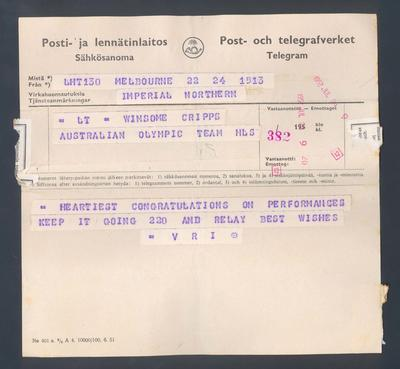 Twelve telegrams, sent to Winsome Cripps during 1952 Olympic Games