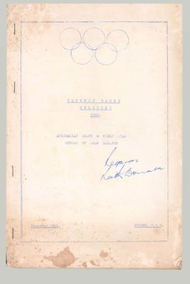 Report from Australian track & field team manager, 1952 Helsinki Olympic Games