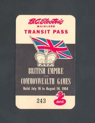 Transit pass, issued to Winsome Cripps - 1954 British Empire and Commonwealth Games