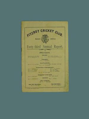 Annual report, Fitzroy Cricket Club - season 1905/06