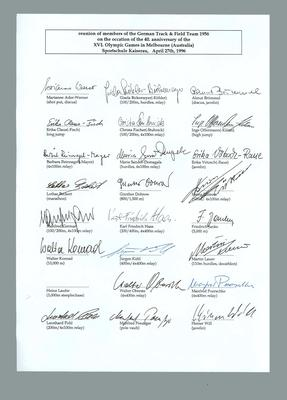 Signatures of 1956 German Olympic Games track & field team, 1996 reunion