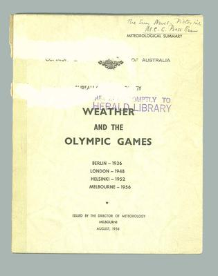 "Book, ""Meteorological Summary: Weather and the Olympic Games"" Aug 1956"