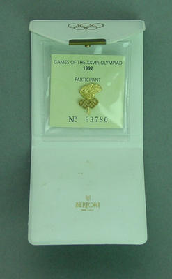 Lapel pin in folder, 1992 Barcelona Olympic Games participant