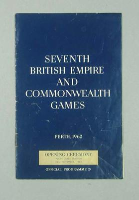 Programme for 1962 Commonwealth Games Opening Ceremony, 22 Nov