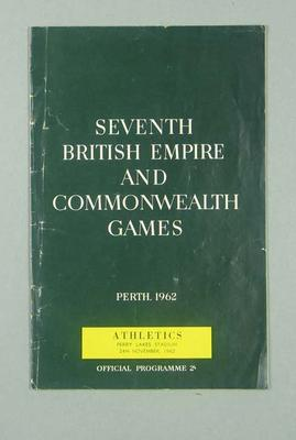 Programme for 1962 Commonwealth Games track & field events, 24 Nov