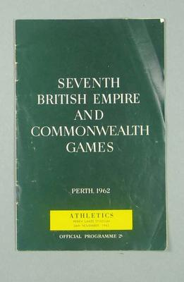 Programme for 1962 Commonwealth Games track & field events, 26 Nov
