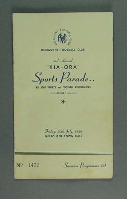 Programme - Melbourne Football Club 2nd Annual Kio-ora Sports Parade 30/7/48