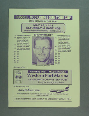 Programme for Russell Mockridge Sun Tour Cup 25km time trial, 18 May 1991; Documents and books; 1996.3234.6