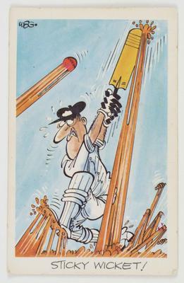 1972 Sunicrust Cricket - Comedy Cricket, Sticky Wicket trade card