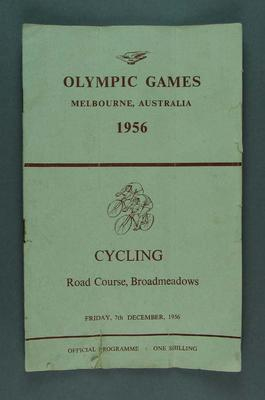 Programme for 1956 Olympic Games road cycling events in Broadmeadows, 7 Dec