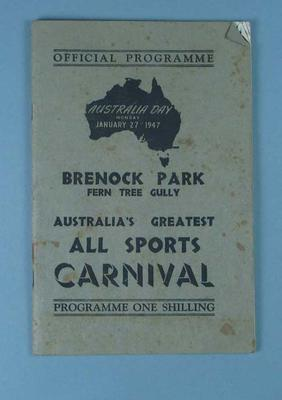 Programme, Australia Day All Sports Carnival 1947