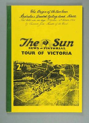 """Soft cover book  - """"The Origin of the Sun Tour, Australia's Greatest Cycling Road Race"""" - written by Laurence Jones, founder of the event"""