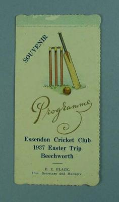 Programme for Essendon CC Easter trip to Beechworth, 1937