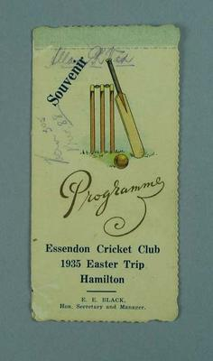 Programme for Essendon CC Easter trip to Hamilton, 1935