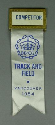 Competitor's badge and ribbon, 1954 British Empire & Commonwealth Games - Track and Field