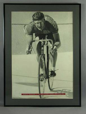 Photograph of Russell Mockridge cycling at Olympic velodrome, Melbourne c1950s; Photography; Framed; 1996.3234.11