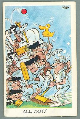 1972 Sunicrust Cricket - Comedy Cricket, All Out trade card