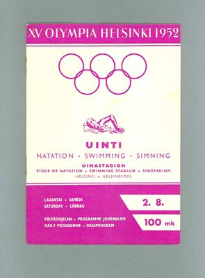 Programme for 1952 Olympic Games swimming, 2 August