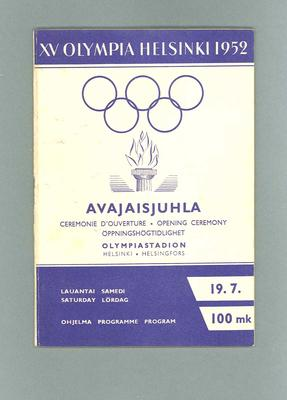 Programme for 1952 Olympic Games opening ceremony