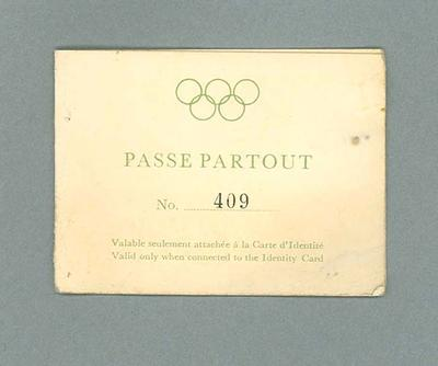 Admission ticket to 1952 Olympic Games opening & closing ceremonies