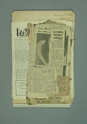 Newspaper clippings related to hockey at 1956 Olympic Games