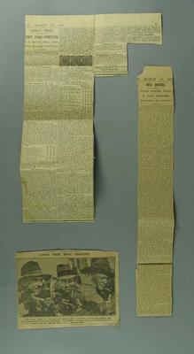 Newspaper clippings associated with King's Prize rifle tournament, c1928-33